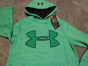 NEW Boys UNDER ARMOUR COLDGEAR STORM Hoodie Grn w/ Big UA Logo  Ysm8 FREE SHIP
