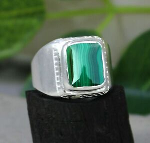 Solid 925 Sterling Silver Malachite Gemstone Engagement Mens Ring Size 6 to 14