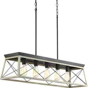 Briarwood Collection 38 in. 5-Light Graphite Farmhouse Linear Chandelier