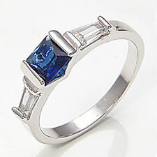 18K White Gold Plated Blue Sapphire Crystal Abstract Eternity Ring Size O/7. 848