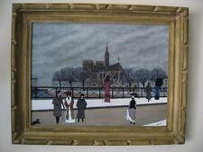 """Gabriel Donnet - """"Notre Dame de Paris et les promeneurs - Tableau - Art naïf -"""