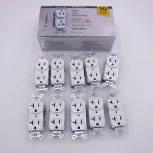 Box of 10 Legrand 20-Amp Commercial Duplex White Outlet