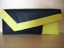 NAVY BLUE & YELLOW faux leather  clutch bag, lined. Handmade in the UK. BN