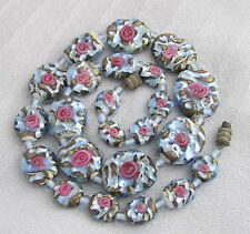 Vintage Venetian Art Glass Unusual Flattened Wedding Cake Beads Necklace Blue