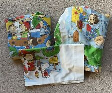 Snoopy Goes West Flat Fitted Pillowcase Bed Sheets Peanuts Charlie Brown Fabric