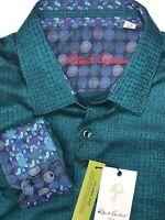 Robert Graham Dress Shirt MEN'S 3XL Button up Spread Collar Green Blue NIAGARA