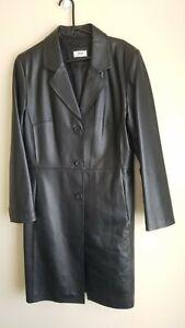 Like new! Genuine  Leather size 14 Womens long  Black Jacket Coat Trench