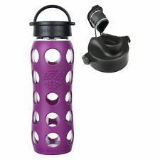 Lifefactory 22oz. Plum Glass Water Bottle w/ Silicone Sleeve and Active Flip Cap