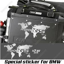 PAIR OF STICKERS WORLD MAP BMW R 1200 GS AC GLOBE FOR SIDE CASES SILVER