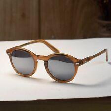 Mens Vintage round sunglasses womens acetate glasses mirror smoke lens UV400
