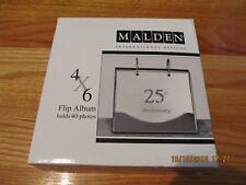 """MALDEN INTERNATIONAL DESIGNS 4"""" X 6"""" 25TH ANNIVERSARY SILVER FLIP PHOTO ALBUM"""