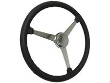 "Sprint Steering Wheel Chrome Kit - 15"" Black Leather - Hot Rod Solid 3 Spoke"