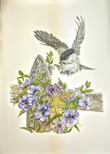 Original Pen & Ink & Watercolor Black-Capped Chickadee & Flowers Cindy Thomasik