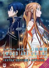 Sword Art Online DVD Season 1+2 +Extra Edition +Offline English Dub - USA Seller