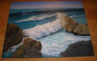 VINTAGE CALIFORNIA LAGUNA BEACH SURF ROCKS SEASCAPE HIGH WAVES OIL ART PAINTING