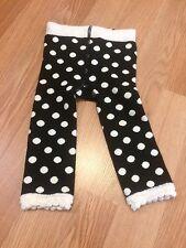 Mud Pie Baby Black White Leggings Fuzzy Dot Tres Jolie Collection Stretch EUC
