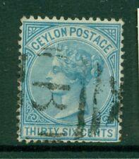 CEYLON 70 SG129 Used 1872-80 36c blue QVIC Perf 14 Cat$28