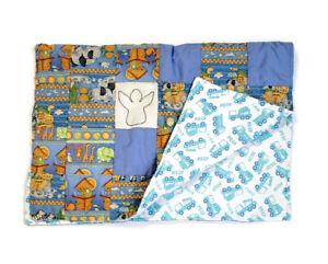 Handmade Baby Quilt Blanket Reversible Unique Colorful Animals Noah's Ark Trucks