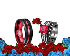 His Tungsten Carbide and Her CZ red black band Wedding Engagement Ring Set
