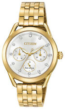 Citizen Eco-Drive Women's FD2052-58A Drive LTR Silver Dial Gold-Tone 38mm Watch