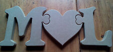 Jigsaw letters and heart craft blank, plaque 18mm Thick MDF Freetanding