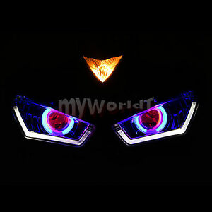 Fit For Yamaha YZF R3 R25 2013-2017 Front Headlight Assembly LED Angel Eye