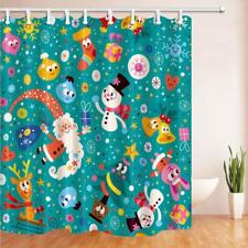Christmas Elf Gift Print Waterproof Fabric Bathroom Shower Curtain & 12 Hooks