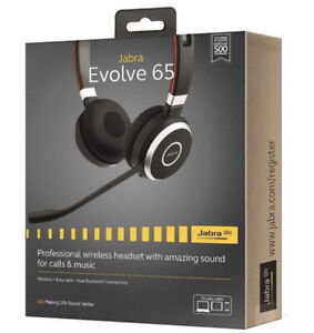 NEW Jabra Evolve 65 Stereo: Wireless Bluetooth Headset With MS Teams Busylight