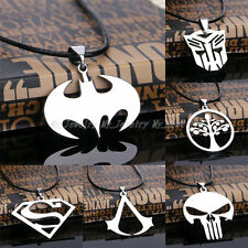 Jewelry Gift Men Boy Unisex Pendant Necklace Stainless Steel Choker Cord Leather