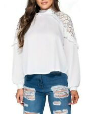 Women's White Sheer High Neck Cut Out Cold Shoulder Crochet Lace Ruffle Blouse