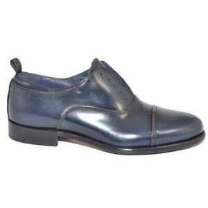 Scarpe uomo stringata elastico inglese punta alzata vera pelle lucida blu made i