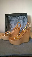 Alexander McQueen metallic leather wedges Size UK 4 Eur 37 RRP £395