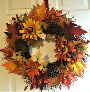 """NWT 23""""D Autumn Fall Grapevine Wreath - Sunflowers, Pine Cones, Berries, Leaves"""
