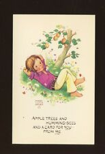 Artist MABEL LUCIE ATTWELL c1960s fashion girl apple tree PPC #MLA 43