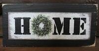 Home Boxwood Wreath Primitive Rustic Wooden Sign Block Shelf Sitter 2.5 X 5.5