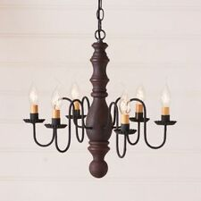 Country new  Hartford red over black 6 Arm wood chandelier / Nice