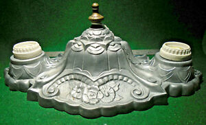 LARGE VINTAGE CAST ALUMINUM DOUBLE BULB CEILING FIXTURE - FULLY RESTORED (14397)