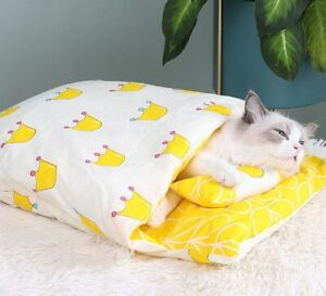 Portable Removable Cat Dog Sleeping Pet Bed Bag  Winter Warm House Small Bed