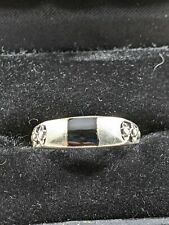 Sterling Silver Black Enamel Ring Size 9