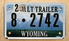 "WYOMING  MOTORCYCLE CYCLE SIZE LT TRAILER LICENSE PLATE  "" 8 2742 "" WY"