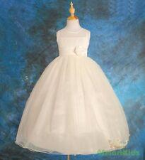 Ivory Transparent Top Wedding Flower Girl Communion Party Dress Size 5 Fg060