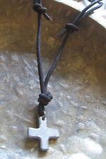 Kreuz Halskette Herren neu Leder braun Kreuzkette Surferkette Herrenhalskette
