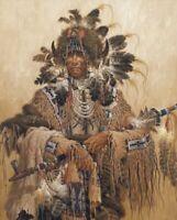 "Native American Medicine Man, Pipe, Digitally Printed Fabric Panel 36"" x 44"""