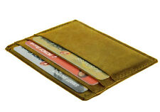 Tan LEATHER THIN Compact Flat Men Wallet Front Pocket Case 6 Credit Card ID
