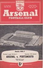 ARSENAL v PORTSMOUTH ~ 12 JANUARY 1957 ~ FOOTBALL PROGRAMME