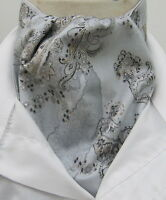 Mens Grey & Silver Paisley Design Cotton Ascot Cravat & Pocket Square