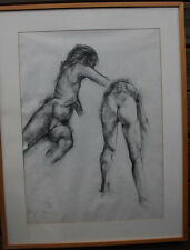 Lot ensemble de 2 dessins fusain étude nu drawing monogrammé daté 1993 inconnu