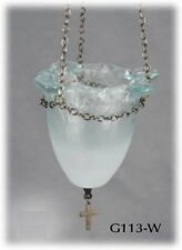 "Christian Handmade Fusing Glass Oil Vigil Orthodox Candle Lamp 4.3"" 11cm"