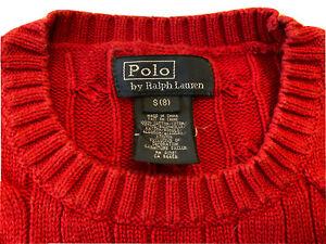 Polo Ralph Lauren Red Cableknit Sweater Size S (8) Boys Excellent Condition