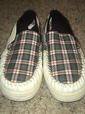Globe Australia Mens White/Red Plaid Slip On Castro Shoes Sz 10 US EUC Leather